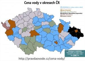 Unikátní mapa aktuálních cen vody v okresech ČR