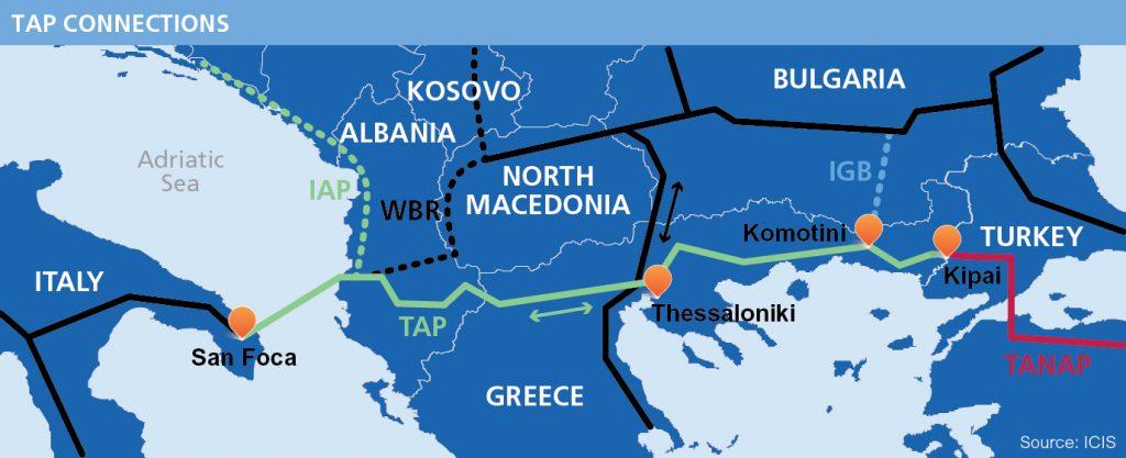 plynovod TAP vedoucí balkánskou trasou